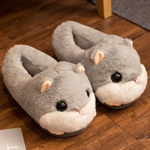 Милые тапочки хомяки зима теплый домашний пол мягкие животные женские тапочки девушки обувь дамы