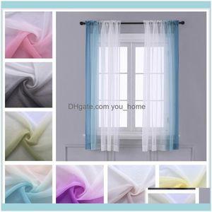 Curtain Deco El Supplies Home Gardencurtain & Drapes Gradient Sheer Curtains For Living Room Fashion Tulle 1 Piece Half Transparent Custom M