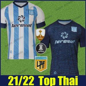 Racing Club Soccer Jerseys 2021 2022 Casa Away Shirts Chancalay Rojas Lisandro Jersey di calcio Copetti Reniero Fertoli Uniformi Camiseta de Avellaneda 21/22
