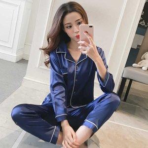 Женский шелковый сатин Pajamas Pajamas набор с длинным рукавом спящая одежда Pijama Pajamas костюм женский сон Двухсеснатная установка набор Loungewear Plus Размер 210527