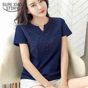 الصيف النساء قمم البلوزات المحملات المؤنث المرأة الملابس القطن الأبيض قميص زائد الحجم الخامس الرقبة السيدات ضئيلة زائد الحجم 3xl 210323