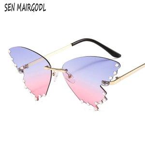 Солнцезащитные очки Мода Безрамная Бабочка Элегантные Женщины Алмазный Дизайн Солнцезащитные Очки Старинные Градиент Розовые Очки Окуло
