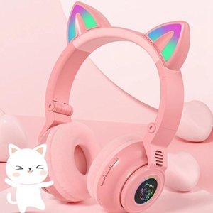 STN-26 RGB Cat Ear Headphones Bluetooth 5.0 Wireless Headset Support TF Card 3.5mm Plug Adults Kids Girl Earphone Mic Gift & Earphones