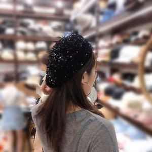 Béret à paillettes Béret Béret Spring rouge Spring rouge et automne Fashion coréen Polyatile Mince octogonal