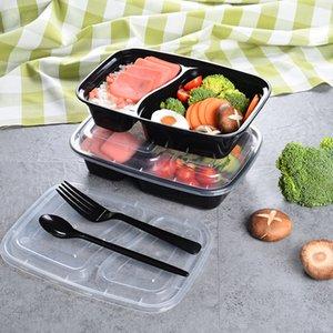 150set / lote plástico descartável Bento caixa de refeição de refeição de alimentos preparar almoço 2 compartimento recipientes microondas lunchbox LX3983