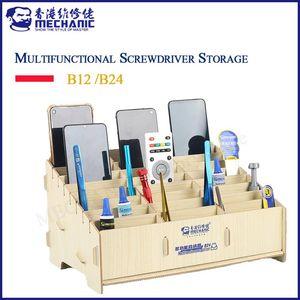 Tool Organizers MECHANIC Multifunctional Solid Wood Storage Box CellPhone Repair Desktop Rack Screwdriver Insert Tools Parts B12 B24