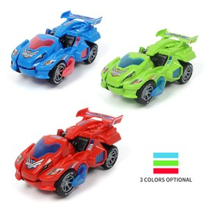 Dropshipping LED Deformation Dinosaur Car Kids Toys Automatic Transform Cars Dinosaur With Light Music Toy Car For Children Gift