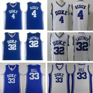 Duke Blue Devils Jersey 4 Jj Redick Jerseys 32 Christian Laettner 33 Grant Hill White 모든 스티치 NCAA 농구 마모