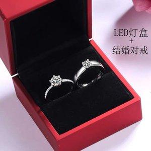 Modo europeo e americano di fascia alta con certificato anello d'argento womens aperto coppie anello anello uomo e donna in stile coreano nozze senza sbiadimento