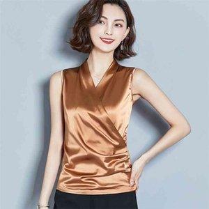 La moda coreana delle donne di seta camicette satinato senza maniche rocciose camicie da donna plus size xxxl womens top e camicette per ladies top 210323