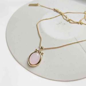 Necklaces 925 Sterling Silver Jewelry Yellow Gold Chain Natural Pink Stone Pendant Choker Oval Round Rose Quartz Necklace