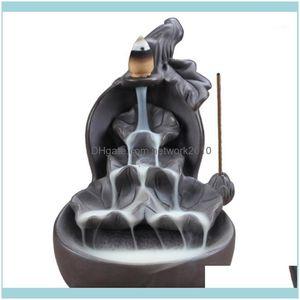 Sachet Fragrances Décor & Gardensachet Bags Smoke Backflow Ceramic Incense Burner Cone Stick Holder Censer Black Furnishing Articles Decorat