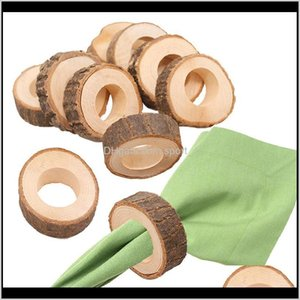 Wooden Napkin Ring Countryside Wooden Napkin Buckle Wedding El Restaurant Napkin Holder Party Banquet Table Decoration Bjhad 0Knh9