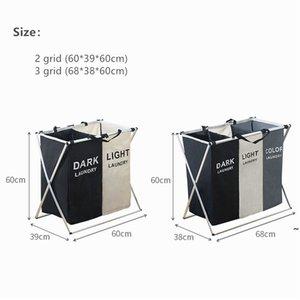 Pieghevole sporco lavanderia Canestro Organizzatore X-Shape stampato Piegabile Tre Grid Home Lavanderia Hamper Sorter Lavanderia Basket GRANDE OWD5847