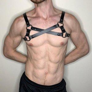 Uomo Cablaggio PU Leather BDSM Bondage Kit ritenutazzatore sessuale Costumi sessuali Halloween Fetish Gay Lingerie Clubwear Sexy Cosplay Tops Bras Set