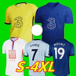 21 22 كرة القدم الفانيلة فيرنر Havertz Chilwell Ziyech Zouma Football Shirt Pulisic Camiseta Kante Mount 2020 2021 Men + Kids Kit