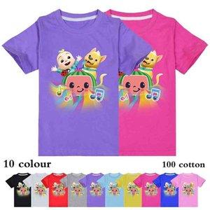 100-170cm Children's Short Sleeve Summer T-shirt 100% Cotton Cocomelon Ji Baby Boys Girls Clothing Cartoon Tshirts Tee Tops 10 Colors G61V86B