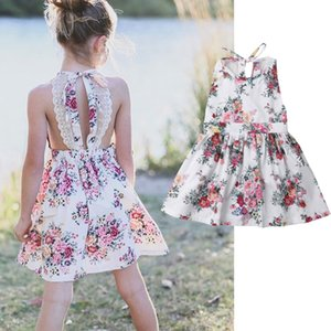 Summer Dress for Baby Girl Sleeveless Floral Printed Backless Party Wedding Princess Dresses Children Kid Clothes