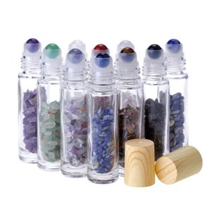10 ml rouleau de verre transparent sur des bouteilles de parfum avec pierre de quartz à cristaux naturels concassés, boule à rouleaux en cristal grain de grain SN5453
