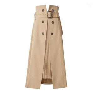 Office Lady Elegant Patchwork Pleated Split Women Skirts High Waist With Sashes Irregular Hem Casual A-Line Skirt Female Spring1