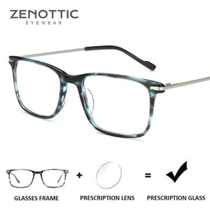 ZENOTTIC Acetate Prescription Glasses Frame Men Square Optical Myopia Hyperopia Eyewear Anti-Blue-Ray Pochromic Eyeglasses 210529