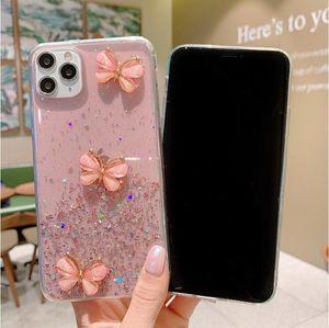 Glitter Star Starry Soft TPU القضية مع حالات واضحة فراشة بلينغ لفون 11 12 برو ماكس XR XS X 8 7 6 زائد