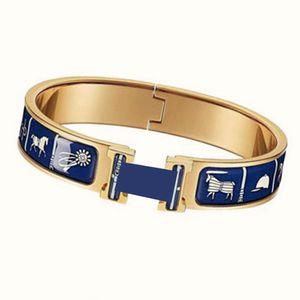 Bracelet en émail de cuivre de haute qualité H pour femme Bracelet de bijoux de luxe Bracelet doré Bracelet Bracelet Bracelets de mode et boîte d'origine