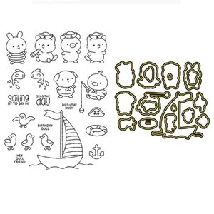 Painting Supplies Smooth Sailing Clear Stamp Set And Coordinating Metal Dies Sail Boat Sailors Seagulls Stamps For DIY Scrapbooking Crafts