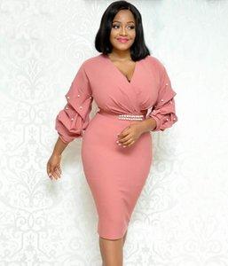 Повседневные платья розовые белые женщины африканские платья плотная петлетная бусина элегантные дамы офисная одежда Тонкие вечеринки туники скромных пакетов