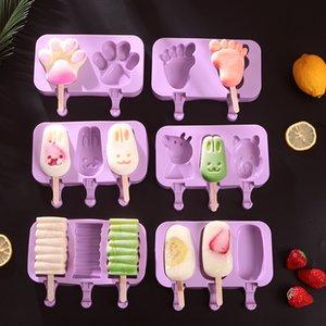 DIY Ice Cream Silicone Moules Enfants Animaux faits maison Popsicle Moules pour enfants Dessin animé mignon Glace-Crème glacée GWB5939