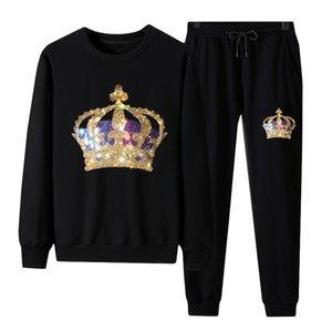 캐주얼 남성용 트랙스 스웨트 셔츠와 바지 - 패션 디자이너 가을 겨울 라인 석 스웨터 탑스 세트 여성 유니섹스 코튼 블렌드 세트