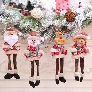 Christmas Plush Hanging Ornaments Buffalo Plaid Santa Snowman Reindeer Bear Xmas Tree Pendant Holiday Party Decoration HWB10563