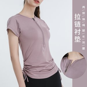Luxury Party Dresses Zipper Pull Rope Sports Short Sleeve T-shirt Yoga Top Solid Color Quick Dry Running Fitns Female Yoga Cloth