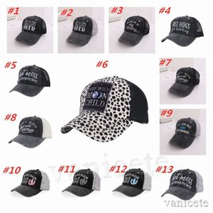 Criss Cross Ponytail Hats Woman Embroidered Washed Mesh Baseball Caps 54 Styles Sunflower Leopard Messy Bun Tie-dye Trucker Hat T2I52065