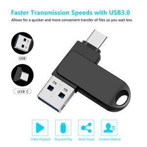 USB Flash Drives 16GB 32GB 64GB 128GB 2 In 1 Memory Stick for Smartphones with USB3.0 and Type-c Ports 360°rotating Zinc Alloy Metal Case