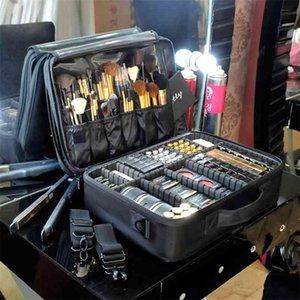 HMUNII Women Cosmetic Bag Travel Makeup Organizer Professional Make Up Box Cosmetics Pouch Bags Beauty Case For Makeup Artist 210322