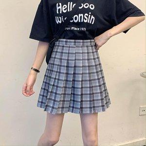 Harajuku Womens Faltenrock Sommer Koreanische Hohe Taille Mini Plaid Kurzfrau Kawaii Anime Schule Mädchen Nette Uniform # 0206 Röcke