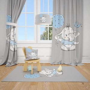 Curtain & Drapes Curtains For Bedroom Baby Boy Short Nursery Boy Ready Made Curtains Curtains Kids Elephant And Balloon