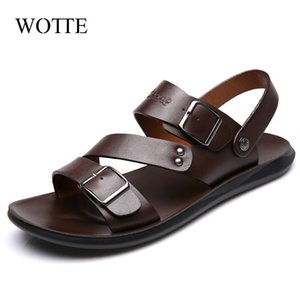 Sandali in pelle wotte per uomo Sandali estivi Scarpe casual da uomo Sendel New Fashion Mens Sandali Beach Sandali Sandalo Homme Cuir 210323