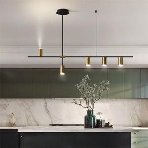 Chandeliers Modern Led Hanging Lamp Loft Living Room Minimalist Dinning Long Chandelier Light Design Nordic Home Kitchen Lighting Gold