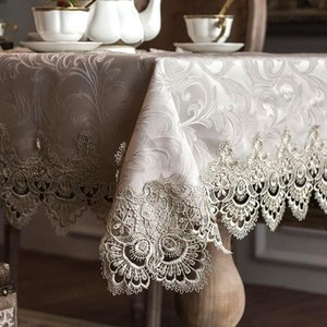 Table Cloth Tablecloth Little Gray Europe Luxury Embroidered Dining Cover Lace Coffee Flag Cushion Set HM322A