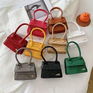 Luxury Girls crocodile grain handbag kids metal letter square crossbady bag 2021 designer children one shoulder bags women mini purse A7527