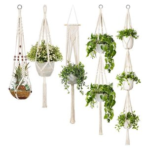 5-Pack Macrame Plant Hangers, Different Tiers, Handmade Cotton Rope Hanging Planters Set Flower Pots Holder Stand, For Indoor Ou