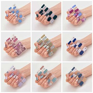 Fashion 14 Tips Nail Stickers Sheet 3D Gold Stamping Gradient Color Nails Sticker Decals Flower for Women Girls