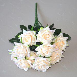 12 головок искусственные розовые цветы букет шелковые розы для дома свадебные свадьбы фестиваль декор шампанского и розовый GGA4357