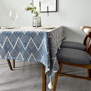 Table Cloth Ripple Style Home Decor Tablecloth With Tassel Dining Protective Cover Coffee Desk Sofa