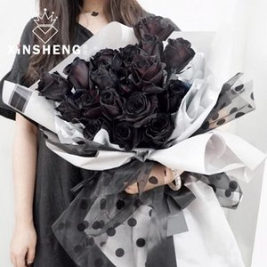 Flocking Dot Flower Packaging Mesh About 50cm*4.5mHandmade Bag Material Floral Bouquet For Shop High Grade Package Gift Wrap