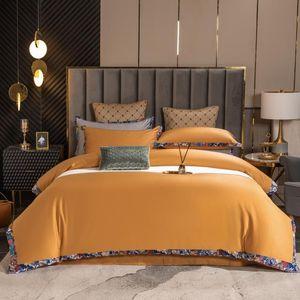 Bedding Sets Pure Color Stitching Digital Printing Welt Set Soft 100S Cotton King Size Bed Sheet Pillowcase Duvet Cover 4pcs