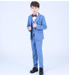 Suits Formal High Quality Spring And Autumn Boys Blazer Fashion Lapel Into Casual Wedding Party Suit 4pcs (Tie+ Shirt + Pants+suit)