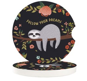 Table Runner Gray Sloth Flower Branch Cartoon Car Cup Mat Contrast Mug Teacup Pad For Home Decor Accessories